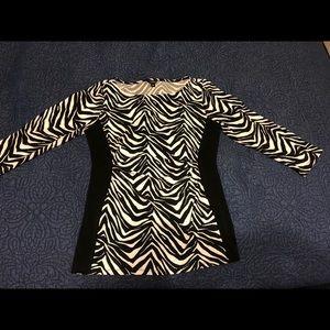 Ann Taylor- Zebra Print 3/4 Sleeve Top - M